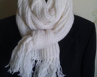 White scarf, soft scarf, a long scarf, warm scarf
