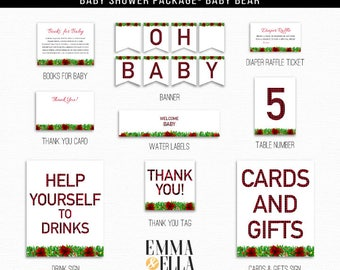 Plaid Baby Shower Package, Instant Download, Printable, Custom Package,  holiday, christmas, poinsettias, red buffalo, flannel, 089