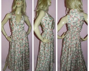 Vintage 70s 80s Summer FLORAL Faux WRAP Maxi dress 14 M Cotton 1980s 1970s