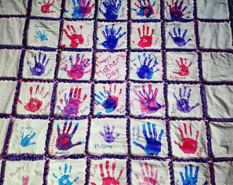 Handmade Family Quilt, Handprint Family Rag Quilt, Custom Rag Quilt