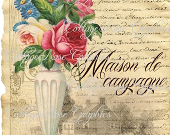 Vintage French Country Maison home pink roses image Large digital download BUY 3 get one FREE