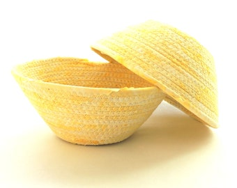 Pale Yellow Bowl- Small Basket// Handmade Coiled Fabric Basket Clothesline Home Decor Change Ring Teacher Gift Bathroom Organizer