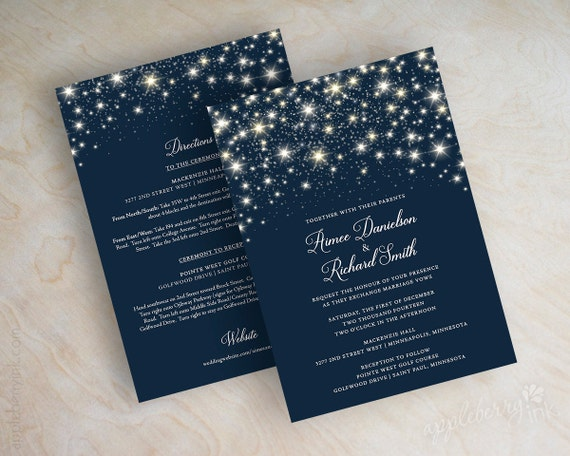 Navy And Gold Wedding Invitations: Items Similar To Star Wedding Invitations