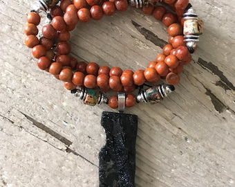 Siducao Wood Prayer Bead Necklace with Green Blue Black Red Tan Greek Ceramic Barrel Beads Silver Beads and Tourmaline Pendant
