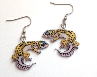 Leopard Gecko Lizard Reptile Handcrafted Plastic Earrings Jewelry Accessories Fashion Novelty Unique Gift
