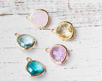 ADD ON glass birthstones gold plated silver plated birthstone charm