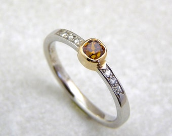 Fancy Diamond ring, yellow diamond engagement ring, diamond ring, cognac diamond ring, lady diamond ring, yellow diamond band, color diamond