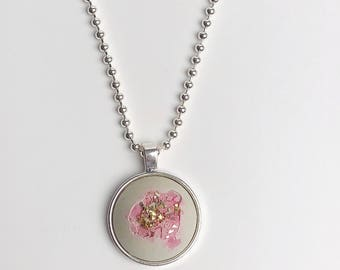 Concrete necklace- Pink and Gold
