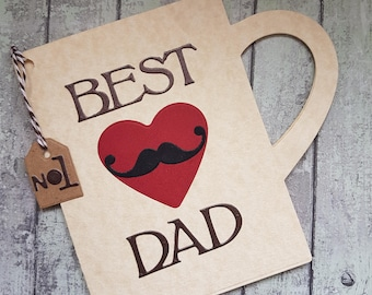 Best Dad mug shaped card / Card for Dad / Father's Day Card / Coffee card for Dad/ Tea card for Dad