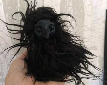 Raven Art Doll - Corvid - Crow - Black
