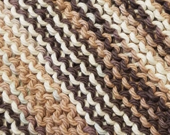 Handmade Knitted Dishcloth - Chocolate Ombre