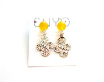 Yellow Ghanaian earrings, Ethiopian pendant, Recycled glass, African earrings, Ethiopian silver, swirl earrings, Ethnic, African jewelry