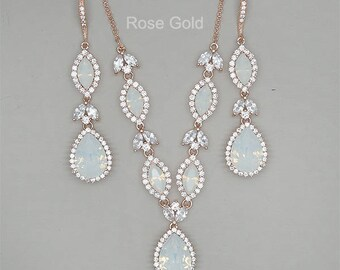 Backdrop Bridal Necklace, Opal Wedding Jewelry Set , Crystal Bridal Earrings,Rose Gold Bridal Jewelry Set, Swarovski White Opal Rhinestone