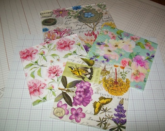 Beautiful Flower Paper Napkins for Decoupage/ Mixed Media/ Collage/ Altered Art