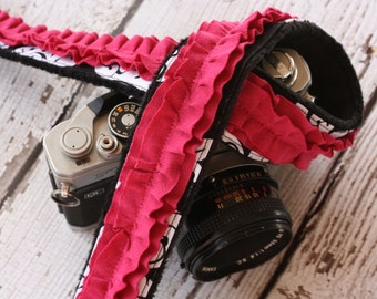 Camera Strap. dSLR Camera Strap.  Raspberry Ruffle Camera Strap.  Damask Camera Strap. Camera Neck Strap. Padded Camera Strap