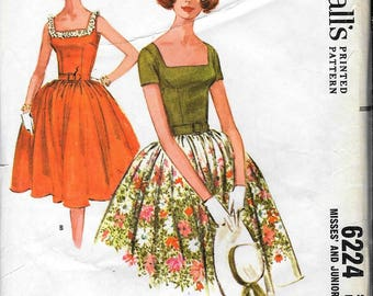 Vintage 1960s McCall's 6224 Full Skirt Evening DRESS Sewing Pattern Size 12 Bust 32