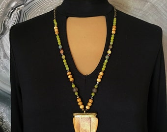 Ox Bone and Green Agate Arrowhead Necklace