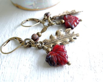 Fall Charms Earrings Autumn Walk in the Woods Oak Maple Seed Pod Dangle Earrings Deep Red Glass Leaves Brass Oak Leaves Rustic Seed Pods
