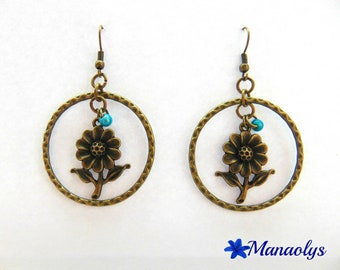 Earrings bronze color, rings and flowers, blue beads!