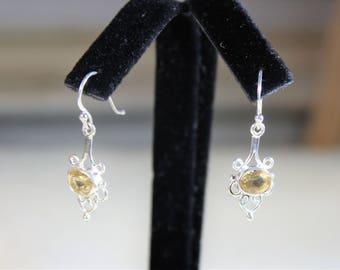 Citrine earrings, drop earrings, sterling silver earrings, dangle earrings, yellow earrings