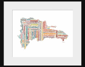 Dominican Republic Map Typography Color Map Poster Print Text Map