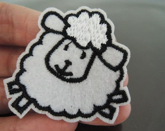 White Sheep Patches - Iron on Patches or Sewing on Patch Little Sheep Patches Embroidered Patch Animal Embellishment
