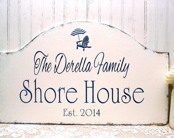 SHORE HOUSE sign, personalized hand painted wooden sign, beach cottage sign, Jersey shore sign, realtor housewarming gift, Custom Christmas
