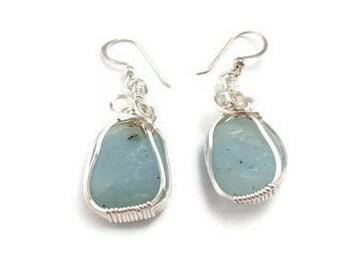 Blue dangle earrings light blue earrings pale blue earrings earrings for women blue earrings wire wrap earrings blue gift for her blue stone