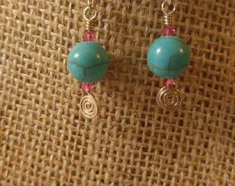 Sterling silver earrings magnesite turquoise blue