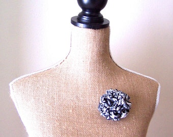 Upcycled Necktie Flower Fluffy Mum Brooch Corsage in Black White & Gray / OOAK Fabric Flower Lapel Pin/Upcycled Recycyled Repurposed
