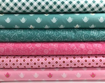 Bundle of 6 Fabrics from the Wonderland 2 Collection from Riley Blake Fabrics, Spring Fabric, Shabby Chic, Dress Fabric, Tea Party