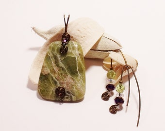 Green Jasper Necklace and Earrings -Trapazoid Jasper Necklace - Jasper Necklace