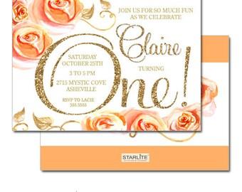 1st Birthday Invitation Girl, Peach Roses Floral First Birthday Invitation, Gold Glitter 1st Birthday Invite for Girls, Printable, Printed