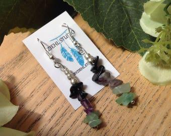 Aventurine amethyst and black jasper nugget stick dangle bohemian earrings