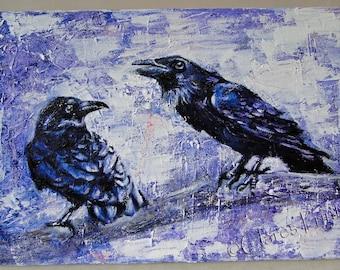 Raven Speak Original Oil Painting on Canvas OOAK Art