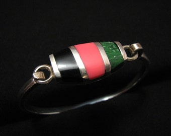 Vintage Taxco Mexico Sterling Silver Black Onyx Pink Coral and Green Malachite Bracelet Signed