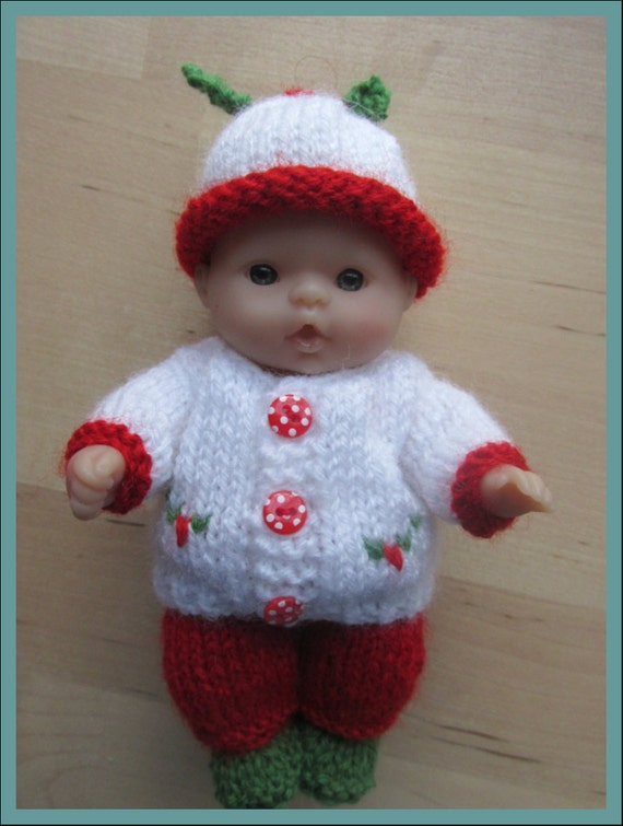 Knitting Pattern For 5 Berenguer Doll Holly Outfit From