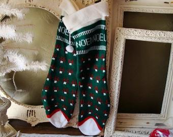 Vintage Christmas stockings Noel knit stockings retro Christmas decor white and green stockings christmas home decor