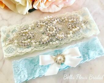 Rhinestone Wedding Garter- Bridal Garter - Blue Lace Garter Set - Pearl Garter - Wedding Garter Belt - Vintage Keepsake Garter - Toss Garter