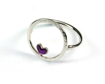 Sterling silver Valentine purple heart ring