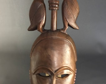 Large wooden African mask. Tribal art.