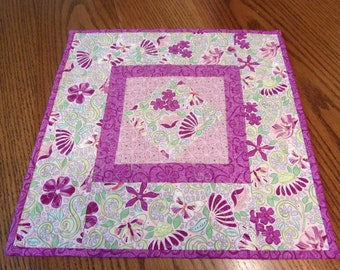 Quilted Spring Table Topper, Quilted Table Top, Floral Table Topper, Patchwork Topper, Table Quilt, Quilted Table Runner, Quilt, Gift