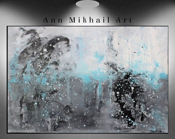 """Original Abstract Painting Acrylic 36"""" x 24"""" Signed by Ann Mikhail"""