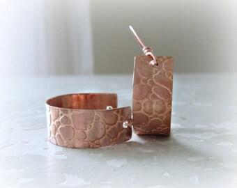 Patterned Copper Hoops, Hoop Copper Earrings, Metalwork Jewelry, Copper Earrings, Boho Hoop Earrings, Snakeskin Earrings, Textured Earrings