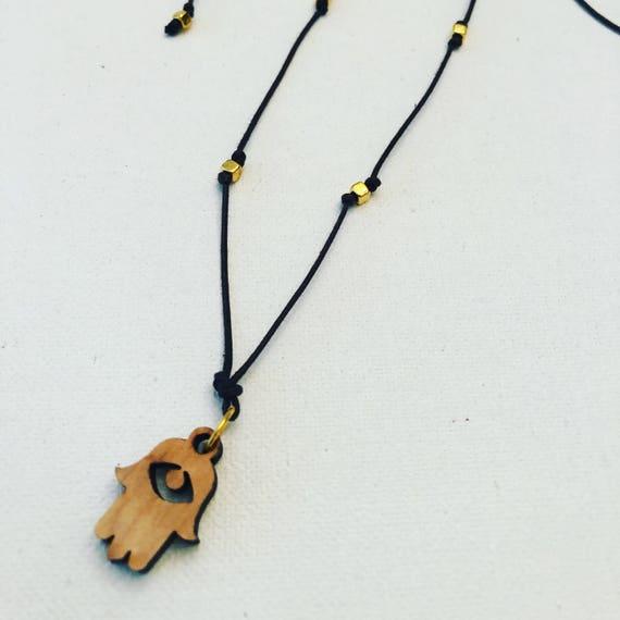 Wood Hamsa Necklace & Choker