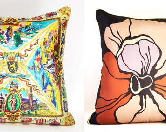 "BELGIUM Map & Vera Scarf  Pillow Cover Vintage Scarf Handmade Decorative Throw Cushion Cover  24"" x 24"" Home Decor"
