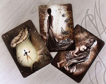 "Trio of Martinefa's Postcards ""Dark Thoughts"" - 14,8 x 10,5 cm"