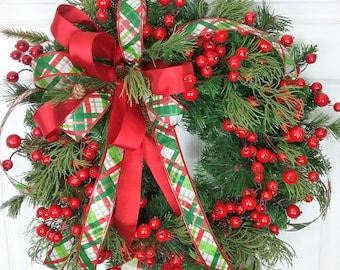 Festive Christmas Wreath, Christmas Wreath with Berries, Red and Green, Holiday Wreath, Christmas Door Decor, Holiday Decor, Berries