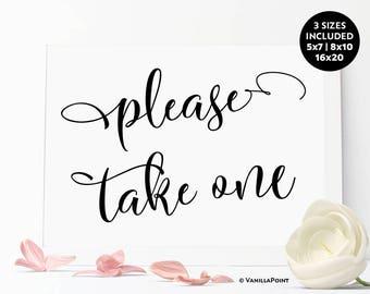 Please Take One Sign, Sign for Wedding, Favor Sign, Wedding Printables, Rustic Bridal Shower Sign, Rustic Wedding Bridal Shower Favors Sign