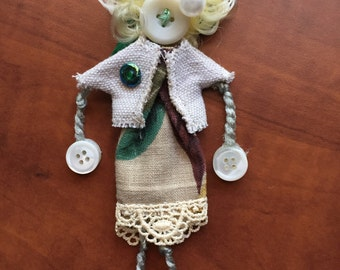 Button Doll Christmas Ornament